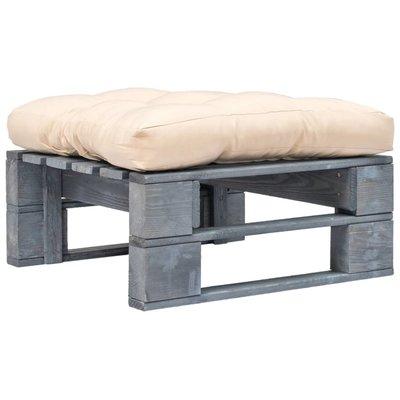 Pallet poef met zandkleurig kussen FSC hout grijs