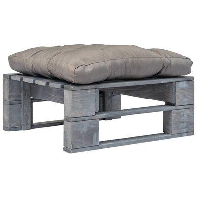 Pallet poef met grijs kussen FSC hout grijs