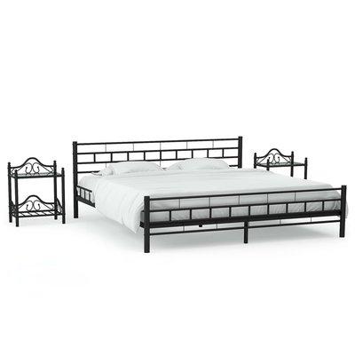 Bedframe met twee nachtkastjes metaal zwart 160x200 cm