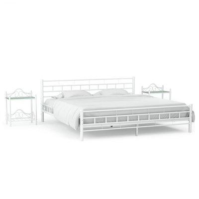 Bedframe met twee nachtkastjes metaal wit 140x200 cm
