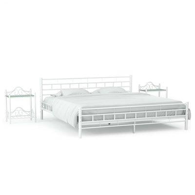 Bedframe met twee nachtkastjes metaal wit 180x200 cm