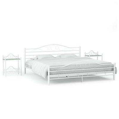 Bedframe met twee nachtkastjes metaal wit 160x200 cm