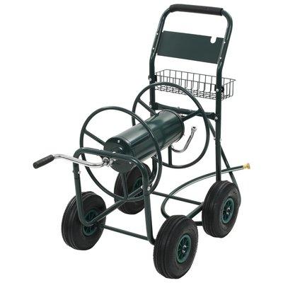 """Tuinslangtrolley met 1/2"""" slangkoppeling staal groen"""