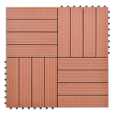WPC Tegels 30x30cm 11 stuks 1m2 bruin