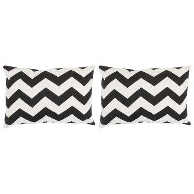 Sierkussens met patroon handgemaakt 40x60 cm zwart/wit 2 st