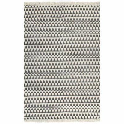 Kelim vloerkleed met patroon 120x180 cm katoen zwart/wit