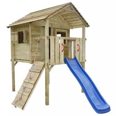 Speelhuis met ladder en glijbaan 360x255x295 cm hout