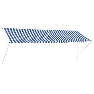 Zonwering uitschuifbaar 350x150 cm blauw en wit
