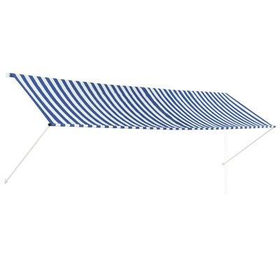 Zonwering uitschuifbaar 400x150 cm blauw en wit