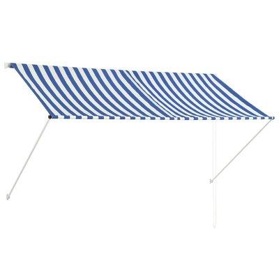 Zonwering uitschuifbaar 250x150 cm blauw en wit