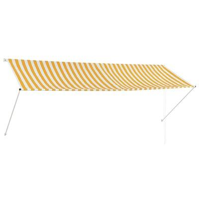 Zonwering uitschuifbaar 350x150 cm geel en wit