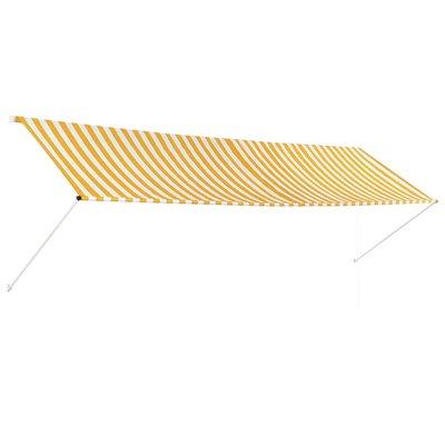 Zonwering uitschuifbaar 400x150 cm geel en wit