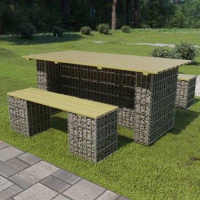 3-delige Gabion tuinset gegalvaniseerd staal en FSC grenenhout