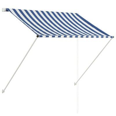 Zonwering uitschuifbaar 150x150 cm blauw en wit