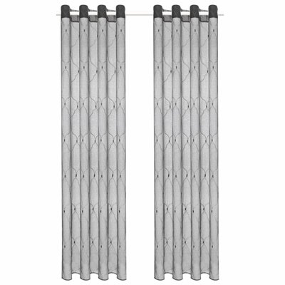 Glasgordijnen geborduurd 140x225 cm grijs 2 st