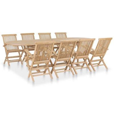 9-delige Tuinset met verlengbare tafel massief teakhout
