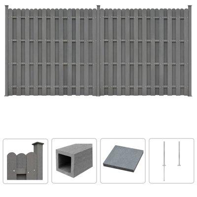 Schuttingset 2 vierkant 376x185 cm HKC grijs
