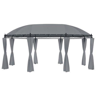 Paviljoen met gordijnen 530x350x265 cm antraciet