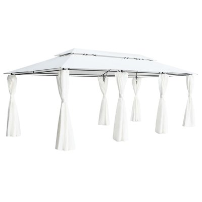 Paviljoen met gordijnen 600x298x270 cm wit