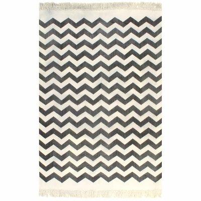 Kelim vloerkleed met patroon 160x230 cm katoen zwart/wit