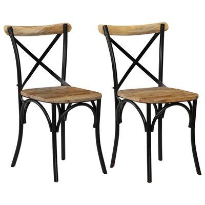 Kruisstoelen 2 st 51x52x84 cm massief mangohout zwart