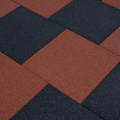 Valtegels 24 st 50x50x3 cm rubber rood