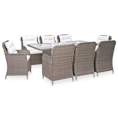 9-delige Tuinset poly rattan bruin