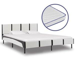 Bed met traagschuim matras kunstleer wit en zwart 180x200 cm