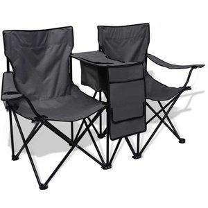 Dubbele campingstoel 155x47x84 cm grijs