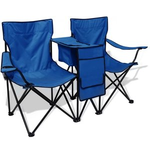 Dubbele campingstoel 155x47x84 cm blauw