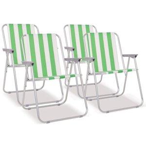 Campingstoelen inklapbaar 52x62x75 cm staal groen en wit 4 st