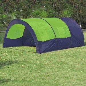 Kampeertent voor 6 personen polyester blauw en groen
