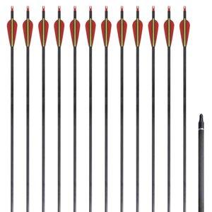 """Pijlen voor recurveboog standaard 30"""" 0,76 cm koolstof 12 stuks"""
