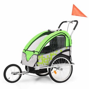 Kinderfietskar en wandelwagen 2-in-1 groen en grijs