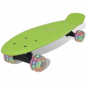 Penny board retro met LED-wielen groen