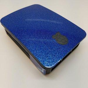 Glitterblauwe Sticker (Skin) voor Originele Raspberry Pi 3 B Foundation Behuizing