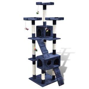 Kattenkrabpaal met 2 huisjes Max 170 cm donkerblauw