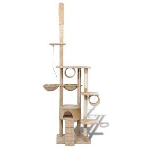 Kattenkrabpaal Tommie 220/240 cm 1 huisje (beige)