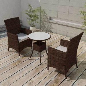Tuinset poly rattan bruin 5-delig