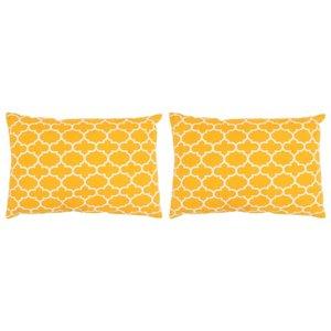 Sierkussens met patroon handgemaakt 40x60 cm geel 2 st